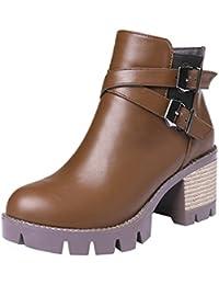 SHOWHOW Damen Wasserdicht Runde Kurzschaft Stiefel mit Blockabsatz Schwarz 39 EU