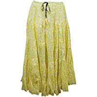 Mogul Interior Womens Boho Skirt Yellow Cotton Tiered Hippie Gypsy Maxi Skirts