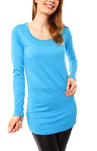 Easy Young Fashion Damen Langarm T-Basic Shirt Lang Longshirt Langarmshirt Unterziehshirt Minikleid Unterkleid Rundhals Uni Türkis M/L