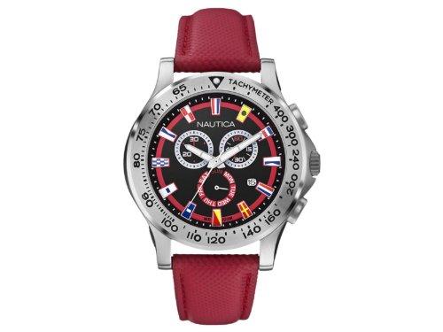nautica-a19596g-montre-homme-quartz-chronographe-bracelet-cuir-rouge