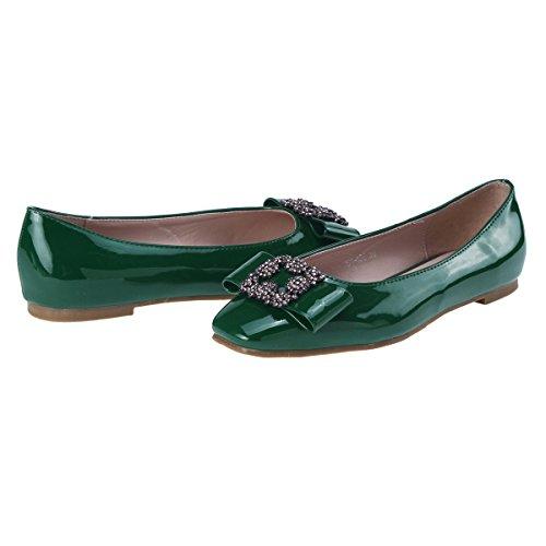 Damara Ballerines Pour Femmes Casual Nœud Papillon Confortable Eté Vert