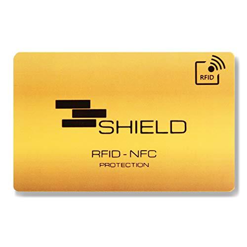 SHIELD Anti RFID e NFC Blocking Card - Protezione per Carte di Credito, Bancomat e Passaporto Contactless - Una Sola Carta Protegge Tutto il Portafoglio (Oro)