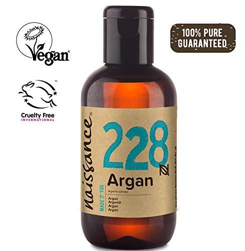 Naissance Aceite Vegetal de Argán de Marruecos n. º 228 - 100ml - Puro, natural, vegano, sin hexano y no OGM - Hidratación natural para el rostro, el cabello, la barba y las cutículas.