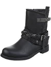 Western- & Bikerboots Damenschuhe Biker Boots Blockabsatz Blockabsatz Reißverschluss Ital-Design Stiefeletten