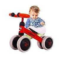 Arkmiido Baby Balance Bike, Ride On Bikes, Children Bicycle, Sliding Bike 4 Wheel, Trike Toddler Walker Color Red 1-3 Years Old