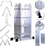 Masko® 6in1 Mehrzweckleiter 4.70M ALU Anlegeleiter Klappleiter Stehleiter Aluminium Modell: 4 x 4 Stufen mit Plattform