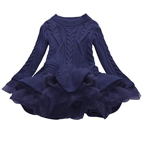 De feuilles Robe en Tricot Bébé Fille Pull Laine Crochet Tutu Robe Manches Longues Col Rond Souple et Mingnon Bleu Marine 9-10 Ans (Tour de Poitrine 70 cm)