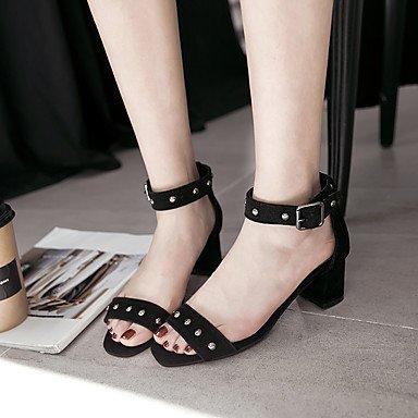 Sommer Schuhe Damen Sandalen Lässig-Kunstleder-Blockabsatz-Fersenriemen-Schwarz Beige Gelb Black