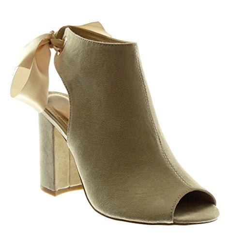 Angkorly Damen Schuhe Stiefeletten Sandalen - Offen - Peep-Toe -  Schnürsenkel Aus Satin Blockabsatz 3a1b055776