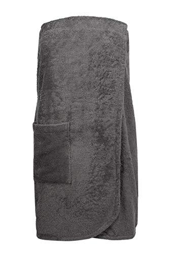 Zollner Saunakilt Damen aus Baumwolle, Farbe Anthrazit Größe L/XL (weitere verfügbar), Gummizug und Klettverschluss