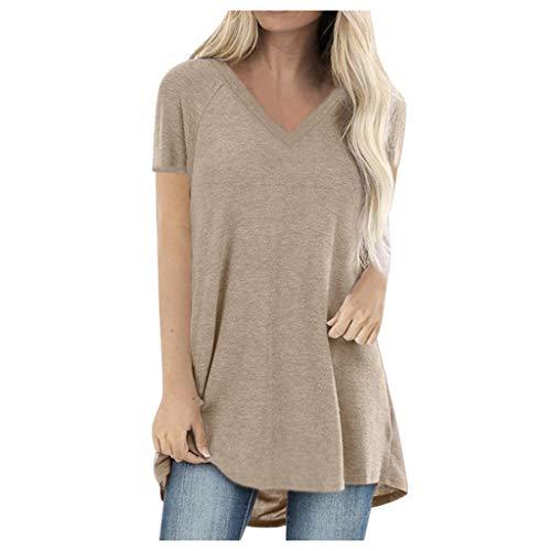 GOKOMO Damenmode Plus Size Print Rundhals Kurzarm Langarm T-Shirt Bluse -