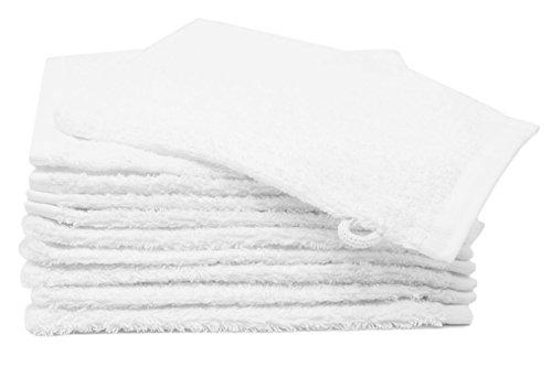Zollner 10er Set Waschlappen Waschhandschuh aus Baumwolle, Farbe weiß, ca. 16x21 cm