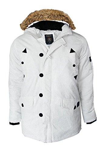 Herren Weiß Parkajacke Brave Soul Kapuze Reißverschluss Kunstpelz Gefüttert Winter Parker Mantel Weiß
