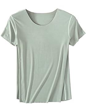 Dexinx Mujer Camiseta Básica de Manga Corta T-Shirt Costura Sin Costura EN el Verano