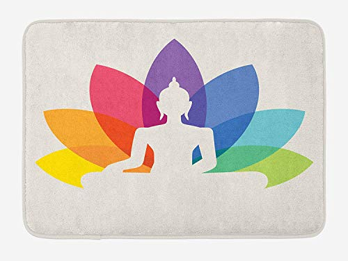 Asian Bath Mat, Silhouette of Sitting Young Statue with Colorful Lotus Flower Floral Cultural Print, Plush Bathroom Decor Mat with Non Slip Backing, 23.6(L) X15.7(W) inch, Multicolor