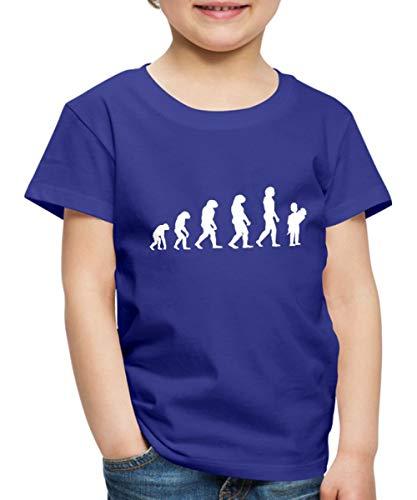 Spreadshirt Einschulung Evolution Schulanfang Entwicklung Schulkind Kinder Premium T-Shirt, 122/128 (6 Jahre), Königsblau -