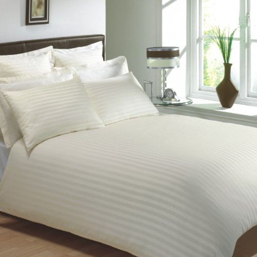 VICEROY BEDDING 100% Egyptian Cotton, CLASSIC STRIPE Duvet Cover, Cream, Super King Bed Size, 400 Thread Count