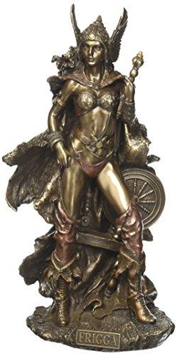 Zeckos Estatuas de Resina Frigga Norse Goddess of Love Marriage and Destiny de pie Cerca del husillo Estatua 5,5 x 10 x 4 Pulgadas Modelo de Bronce #WU75526A4