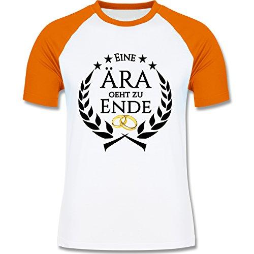 JGA Junggesellenabschied - Eine Ära geht zu Ende - zweifarbiges Baseballshirt für Männer Weiß/Orange