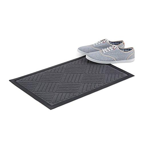 Relaxdays Gummimatte Außenbereich, Fußmatte mit Streifen-Muster, Türmatte Gummi, Fußabstreifer innen, 40x60cm, grau