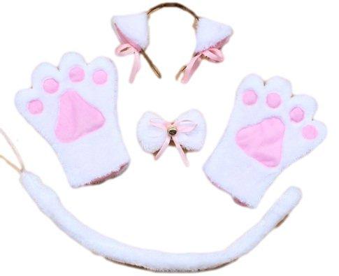 Cat Ohren! Paws! Moe Moe Cosplay Nyanko Set von 4 Katzenohren Pfoten Handschuhe Kragen Kazecho binden Schwanz (wei? Nyanko) (Japan Import / Das Paket und das Handbuch werden in Japanisch) (Japanische Cosplay Kostüme Uk)