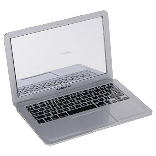 VANKER Espejo de Bolsillo con Peine 1 Unidad,diseño con Forma de Cuaderno del Ordenador - Plata