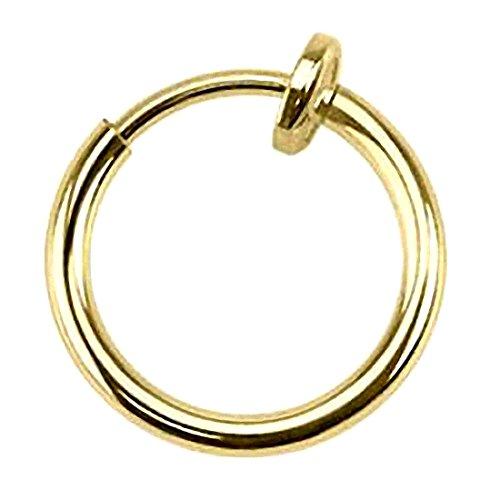 Kultpiercing - Septum Nasenpiercing Klemmring Fake Ring Spring Piercing Helix Ohr Nasenring Gold