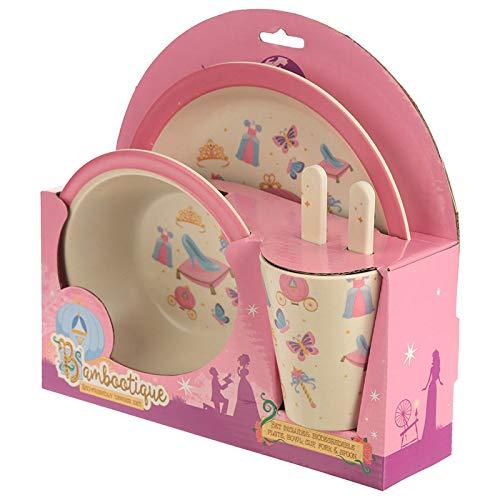 et Supreme Geschenk. EIN ideales Kinderset. Bambootique Kinder-Geschirrset mit Prinzessinnen-Design, umweltfreundlich, biologisch abbaubar ()