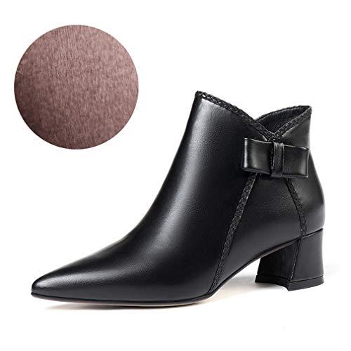 YAN Damen Ankle Boots, Damen Leder Rough High Heels Mode Bow Booties Seitlichem Reißverschluss Spitz Martin Stiefel Party & Abendkleid Schuhe (Farbe : B, Größe : 35)