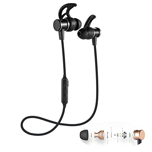 qianfuyin Wireless Sport Bluetooth Headset In-Ear-Stereo-Subwoofer Kompatibel Magnetic Kopfhörer für iPhone und Android Smartphones Ampere-Black