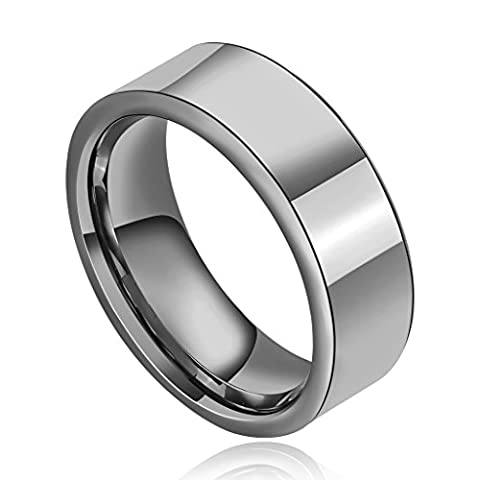Epinki Tungsten Ring, Men's Wedding Bands High Polished Wide Flat Comfort Fit Silver Size R 1/2