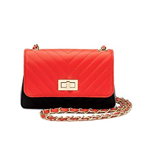 Ira del valle, borsa trapuntata a tracolla donna ragazza, pochette elegante moda a spalla con catena, piccola borsetta a mano, clutch in vera pelle, modello milano, made in italy (rosso e nero)
