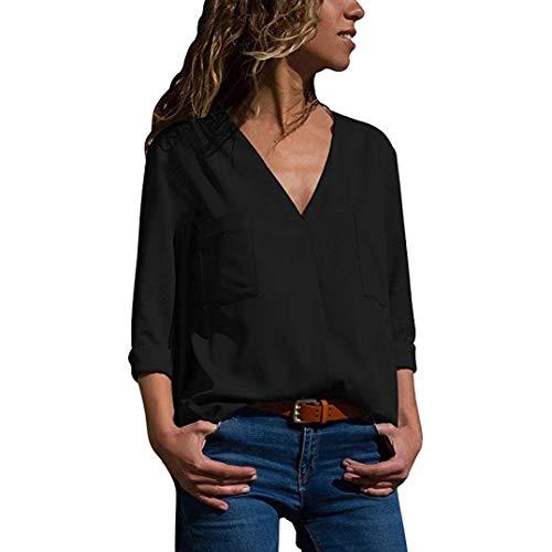 TEBAISE Damen Chiffon Bluse V-Ausschnitt Shirt Casual Langarm Oberteile Einfarbig Elegante Tunika Top Locker Langarmshirts mit Tasche Frauen(Schwarz,M)