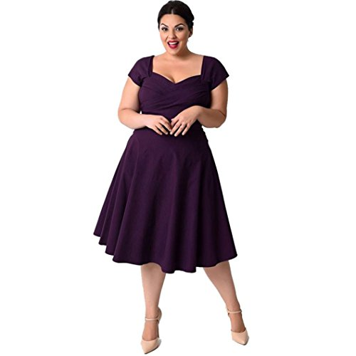 Elecenty Damen Übergröße Swing Cocktailkleider Tief V-Ausschnitt Partykleid Solide Sommerkleid Rock Mädchen Formal Kleider Solide Frauen Mode Kurzarm Kleid Minikleid Kleidung (XL, Lila) (Schönes Kleid Lila)