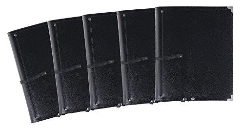 5x Classic Cantabile Notenmappe Deluxe Schwarz Set (stabiles Kunstleder, Handschlaufe, Noten bis DIN A4, herausnehmbares Ringelement, Schutzecken)