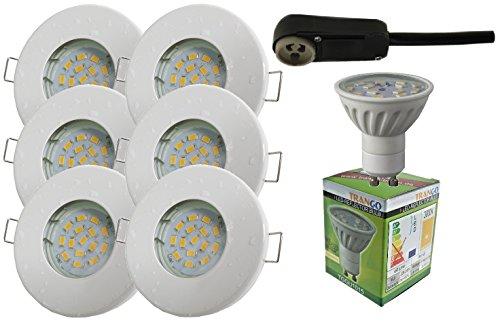 Trango 6er Set IP44 Einbaustrahler WEISS Bad / Dusche / Sauna inkl. 6x GU10 6,0 Watt LED Leuchtmittel 3000K w-weiß & Fassung Einbauleuchten Edelstahl lackiert rostfrei TG6729IP-066-6W