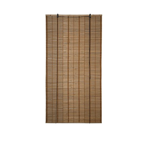 ALEKO BBL36X64BR Light Brown Bamboo Midollino Wooden Roll Up Blinds Light Filtering Shades