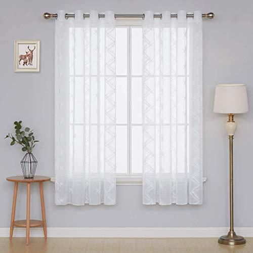 Deconovo tende trasparenti in voile ricamate per camera da letto con anelli 140x290cm bianco 2 pannelli