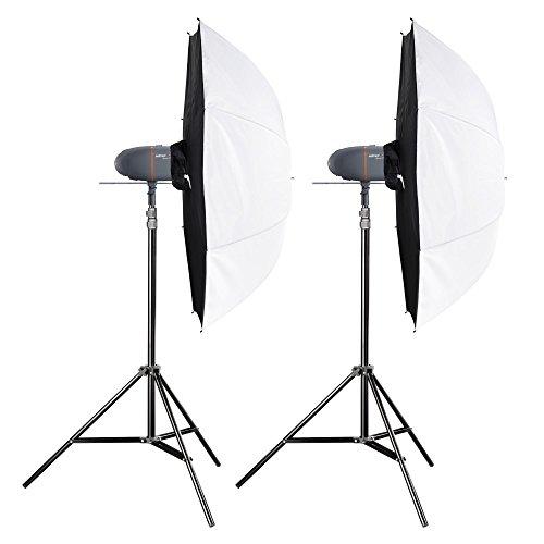 Walimex Pro Newcomer Studioset Mini 100/100 (2X 100Ws Blitzleuchte) Grau/Orange