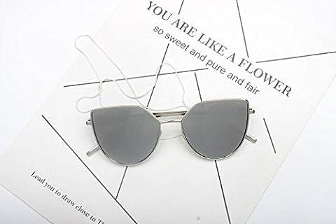 LXKMTYJ Die Sonnenbrillen und Seitenflügel Spiegelgläser ist stilvoll Kette Pearl dunkle Brille, White Water Silber