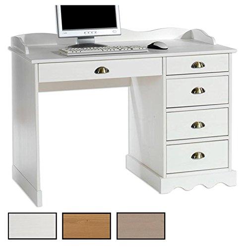 IDIMEX Schreibtisch Bürotisch Colette, Arbeitstisch mit Aufsatz, Kiefer massiv, Landhausstil
