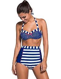 Maillot de Bain Une 1 Pièce Licou Rembourré Robe de Bain Tankini Haut Top avec Boxer Short Swimwear Swimsuit Bleu Star S