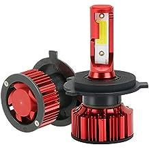 MANLI 2×H4 LED Coches Faros Delanteros Bombillas Q1/9003, 50W(25W