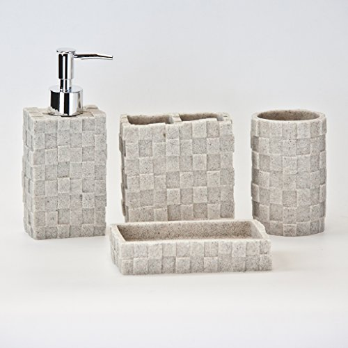 4pc Bathroom Accessories Set - Toothbrush Holder, Soap Dish, Soap/Lotion Dispenser, Tumbler, Cream