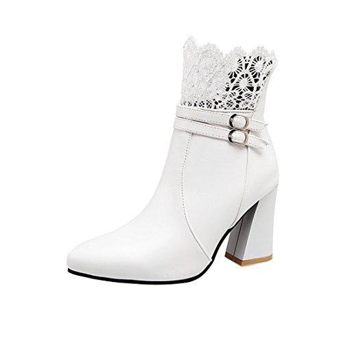 Talons Pointu Bloc Cheville Moyenne à Elegantes avec Blanc Lace UH Fermeture Retour Bottines Bout lautomne Eclair Femmes Chaussures pour 7qYxvg6