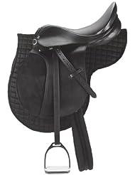 Conjunto de montura poni negro (incl. correa, manta, estribos, correas para estribos)