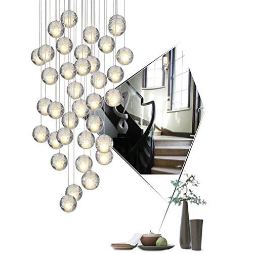 Auccy Pendelleuchte 36 Flammig LED Moderne Pendellampe Kristall Hängeleuchte Höheverstellbar Kronleuchter geeignet für Wohzimmer Esstisch, Treppe, Schlafzimmer Deckenleuchte Hängelampe 3000K