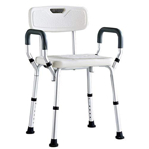 QIANG-w Dusche & Bad Hocker Duschstuhl Höhe Adjustabled, leichte Aluminium-Legierung Badehilfe for ältere Menschen, Behinderte, und Handicappe, wasserdicht Bad Hocker mit Rückenlehne