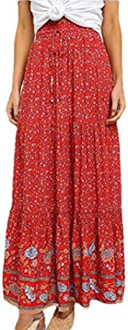 Women's Print Long Skirts Drawstring High Waisted Bohemian Maxi S
