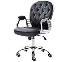 Warmiehomy Premium Velvet Computer Chair With Mid Back -Office Chair Adjustable Swivel Velvet Executive Extra Padded Desk Chair